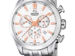 Jaguar Executive i rustfrit stål med hvid urskive. Uret er med datovisning og kronograffunktion.