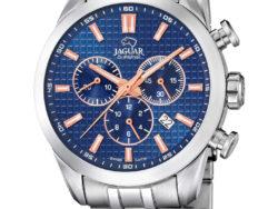 Jaguar Executive i rustfrit stål med blå urskive. Uret er med datovisning og kronograffunktion.