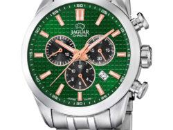 Jaguar Executive i rustfrit stål med grøn urskive. Uret er med datovisning og kronograffunktion.