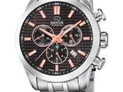 Jaguar Executive i rustfrit stål med sort urskive. Uret er med datovisning og kronograffunktion.