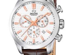 Jaguar Executive i rustfrit stål med hvid urskive og brun læderrem. Uret er med datovisning og kronograffunktion.