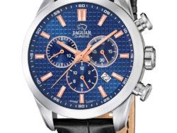 Jaguar Executive i rustfrit stål med blå urskive og sort læderrem. Uret er med datovisning og kronograffunktion.