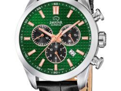 Jaguar Executive i rustfrit stål med grøn urskive og sort læderrem. Uret er med datovisning og kronograffunktion.