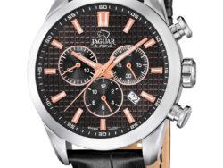 Jaguar Executive i rustfrit stål med sort urskive og sort læderrem. Uret er med datovisning og kronograffunktion.