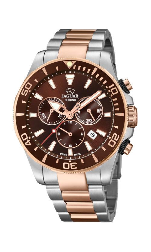 Jaguar Executive Diver i rustfrit stål og rosaguldduble stål med brun urskive. Uret er med datovisning, drejelynette og kronograffunktion. Jaguar urene findes med forskellige flotte skivefarver.