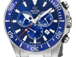 Jaguar Executive Diver XXL i rustfrit stål med blå urskive. Uret er med datovisning, drejelynette og kronograffunktion.