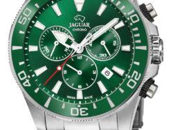 Jaguar Executive Diver XXL i rustfrit stål med grøn urskive. Uret er med datovisning, drejelynette og kronograffunktion. Jaguar urene findes med forskellige flotte skivefarver.