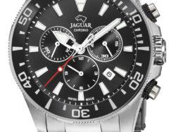 Jaguar Executive Diver XXL i rustfrit stål med sort urskive. Uret er med datovisning, drejelynette og kronograffunktion.