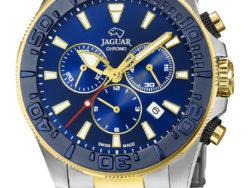 Jaguar Executive Diver XXL i rustfrit stål og guldduble med blå urskive. Uret er med datovisning, drejelynette og kronograffunktion.