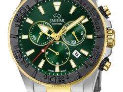 Jaguar Executive Diver XXL i rustfrit stål og guldduble med grøn urskive. Uret er med datovisning, drejelynette og kronograffunktion.