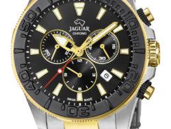 Jaguar Executive Diver XXL i rustfrit stål og guldduble med sort urskive. Uret er med datovisning, drejelynette og kronograffunktion.