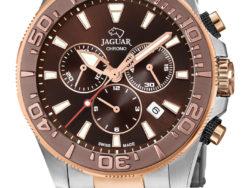 Jaguar Executive Diver XXL i rustfrit stål og rosaguldduble med brun urskive. Uret er med datovisning, drejelynette og kronograffunktion.
