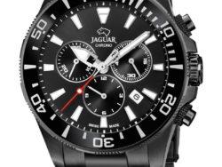 Jaguar Limited Edition Executive Diver i rustfrit sort stål med sort urskive. Uret er med datovisning, drejelynette og kronograffunktion.