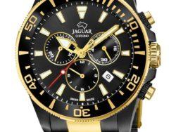 Jaguar Limited Edition Executive Diver i rustfrit sort stål og guldduble stål med sort urskive. Uret er med datovisning, drejelynette og kronograffunktion.