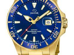 Jaguar Executive Diver i rustfrit guldduble stål med blå urskive. Uret er med datovisning og drejelynette. Jaguar urene findes med forskellige flotte skivefarver.
