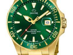 Jaguar Executive Diver i rustfrit guldduble stål med grøn urskive. Uret er med datovisning og drejelynette. Jaguar urene findes med forskellige flotte skivefarver.