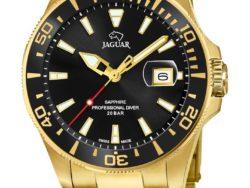 Jaguar Executive Diver i rustfrit guldduble stål med sort urskive. Uret er med datovisning og drejelynette. Jaguar urene findes med forskellige flotte skivefarver.