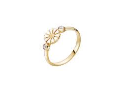 Lund Copenhagen marguerit ring i forgyldt sølv. Ringen er med en 7,5 mm marguerit og der er 2 syntetiske zirkonias. En på hver side af blomsten.