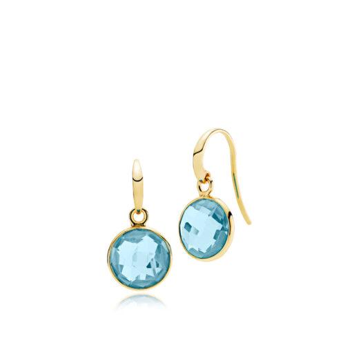"""Izabel Camille """"Prima Donna"""" ørehænger i forgyldt sølv med lyseblå sten. Stenen er 11 mm."""