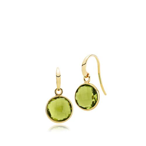 """Izabel Camille """"Prima Donna"""" ørehænger i forgyldt sølv med peridot grøn syntetisk sten. Stenen er 11 mm."""