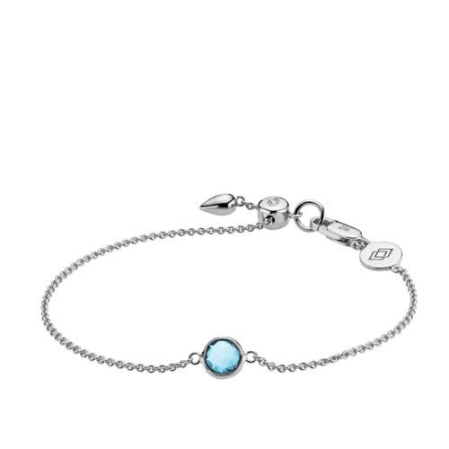 """Izabel Camille """"Prima Donna"""" armbånd i sølv med lyseblå sten. Armbåndet kan justeres ved hjælp af glidelåsen."""