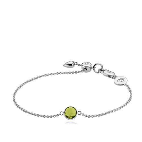 """Izabel Camille """"Prima Donna"""" armbånd i sølv med peridot grøn syntetisk sten. Armbåndet kan justeres ved hjælp af glidelåsen."""