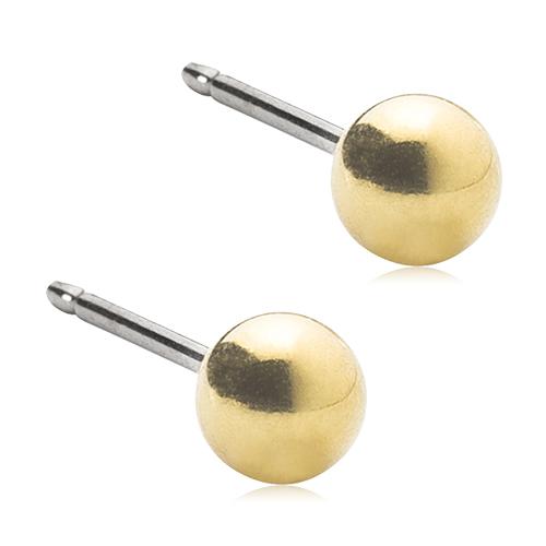 Blomdahl Medical forgyldt titanium kugle ørestik. Ørestikken er 4 mm.